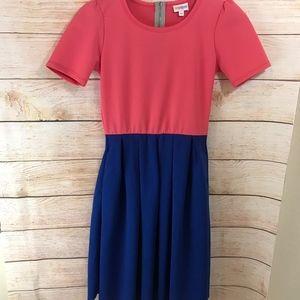 Lularoe Womens Blue Pink Amelia Dress XS